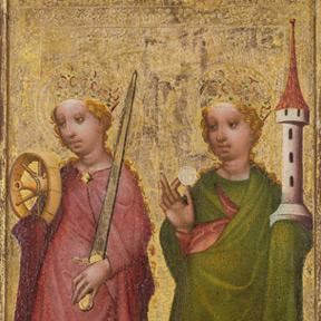 Die Heiligen Katharina und Barbara, aus einer Serie von Sieben Tafelbildern eines Flügelretabels mit dem Marientod, Wien, um 1430/35;<br />Dom Museum Wien<br />Foto: Lena Deinhardstein, Lisa Rastl