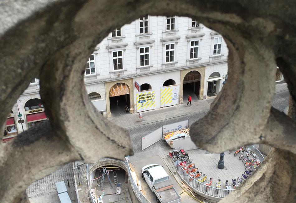 Blick auf die Baustelle des Museums vom Stephansdom. Foto: Dom Museum Wien