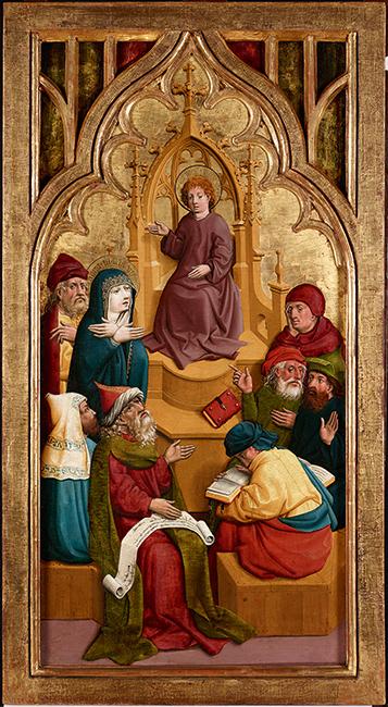 Meister von Schloss Lichtenstein, Der zwölfjährige Jesus im Tempel, um 1445/1450. Österreichische Galerie Belvedere, Wien