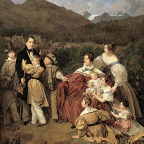 Ferdinand Waldmüller, Familie Eltz (Detail), 1835. Belvedere, Wien, Ankauf aus Privatbesitz, unter Mitwirkung des Vereins der Museumsfreunde, Wien