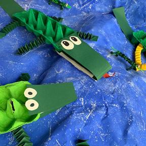 Upcycling-Krokodile im Dom Atelier