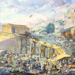 Art des Mathys Cock, Einschiffung der Tiere in die Arche Noah (Gen. 6,1) (Detail), Ende 16. Jh. Courtesy Benediktinerstift Göttweig, Foto: Benediktinerstift Göttweig