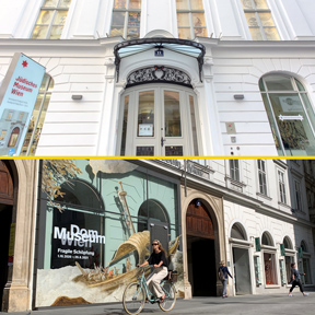Die Eingänge des Jüdischen Museum Wien und des Dom Museum Wien.