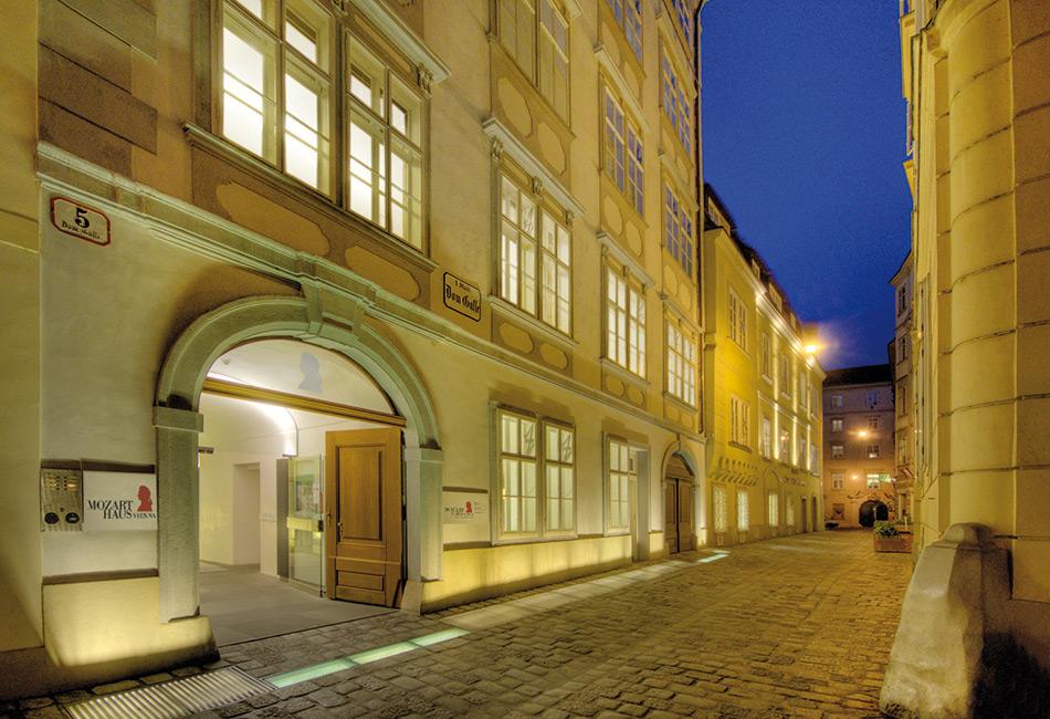 Mozarthaus Vienna bei Nacht. Foto © Mozarthaus Vienna/David Peters