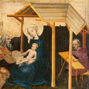 Tafelbild aus einer Gotischen Bildserie: Epiphanie (Detail), um 1415. Dom Museum Wien, Leihgabe des Erzbistums Wien. Foto: Deinhardstein, Rastl