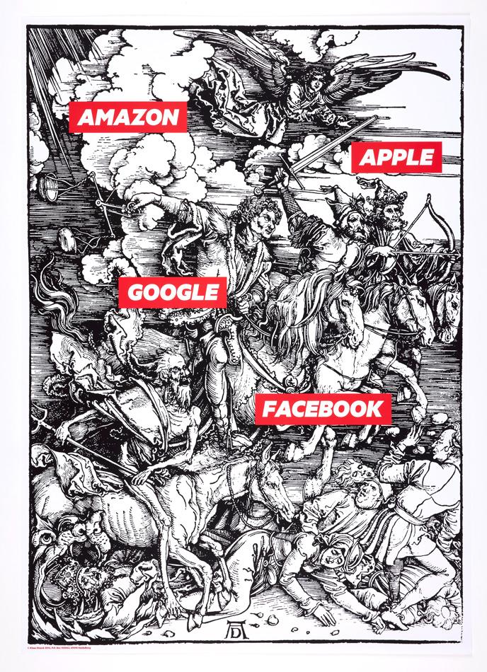 Klaus Staeck, Amazon, Apple, Google, Facebook, 2014. Dom Museum Wien, Otto Mauer Contemporary. Bildrecht, Wien 2021. Foto: L. Deinhardstein