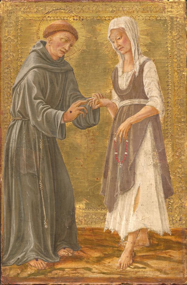 Il Vecchietta und Werkstatt (Lorenzo di Pietro), Der Hl. Franziskus vermählt sich mit der Armut, um 1460. Alte Pinakothek, München. bpk Berlin / Bayerische Staatsgemäldesammlungen