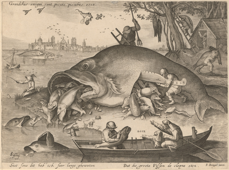 Pieter Bruegel d. Ä., Grandibus exigui sunt pisces piscibus esca, nach 1619. Albertina, Wien.